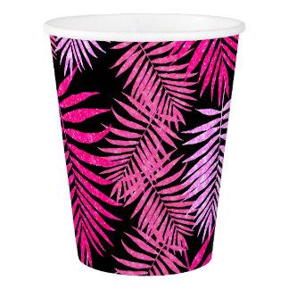 Womens Teen Girls Faux Glitter Palm Tree Leaf Paper Cup
