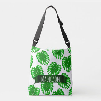 Womens Teen Girls Green Tropical Leaf Personalized Crossbody Bag
