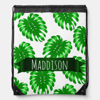 Womens Teen Girls Green Tropical Leaf Personalized Drawstring Bag