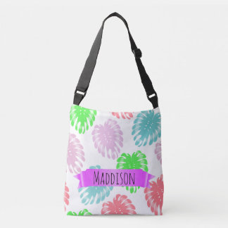 Women's Teen Girls Personalized Pastel Tropical Crossbody Bag