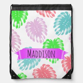 Women's Teen Girls Personalized Pastel Tropical Drawstring Bag