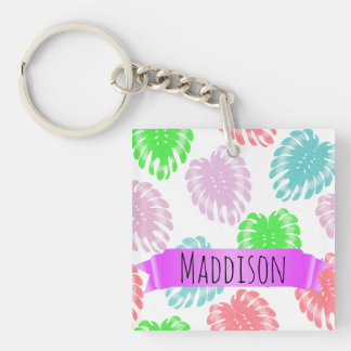 Women's Teen Girls Personalized Pastel Tropical Keychain