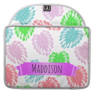 Women's Teen Girls Personalized Pastel Tropical Sleeve For MacBook Pro
