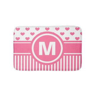 Women's Teen Girls Personalized Pink Striped Heart Bathroom Mat