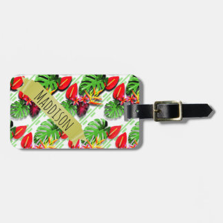 Women's Teen Girls Personalized Tropical Leaf Bag Tag
