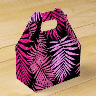 Womens Teen Girls Pink Faux Glitter Palm Tree Leaf Favor Boxes
