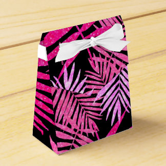 Womens Teen Girls Pink Faux Glitter Palm Tree Leaf Party Favor Boxes