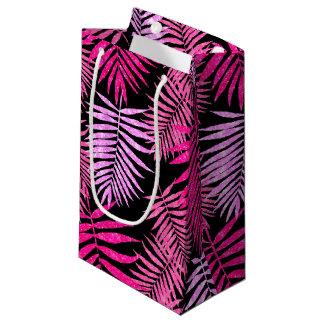 Womens Teen Girls Pink Faux Glitter Palm Tree Leaf Small Gift Bag