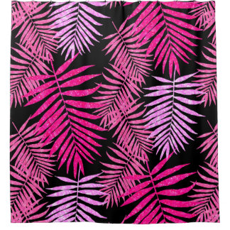 Womens Teen Girls Pink Palm Tree Leaf Faux Glitter