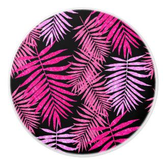 Womens Teen Girls Pink Palm Tree Leaf Faux Glitter Ceramic Knob