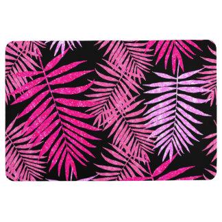 Womens Teen Girls Pink Palm Tree Leaf Faux Glitter Floor Mat