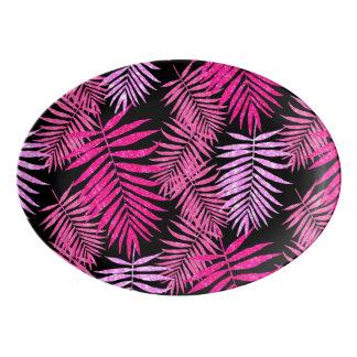 Womens Teen Girls Pink Palm Tree Leaf Faux Glitter Porcelain Serving Platter