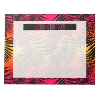 Women's Teen Girls Tropical Palm Leaf Sunset Notepad