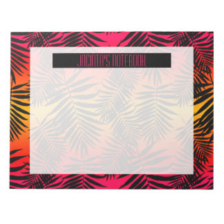 Women's Teen Girls Tropical Palm Leaf Sunset Notepads