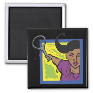 Womens Tennis Square Magnet