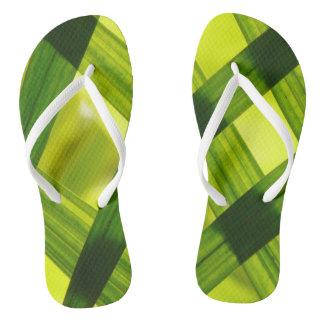 Women's trendy light and dark  green   flip flops