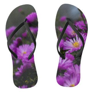 Women's trendy purple flower Flip Flops