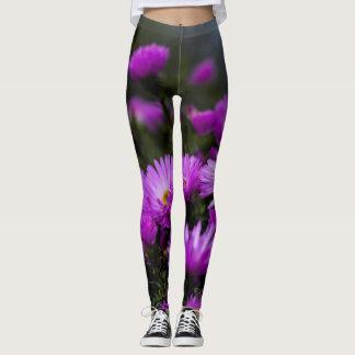 Women's trendy purple flower leggings