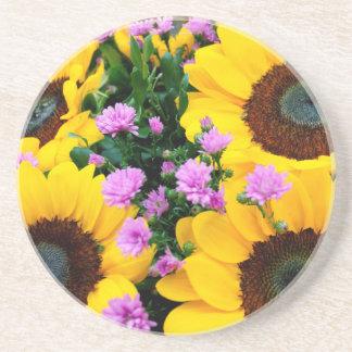 women's trendy sun flower  drink coaster
