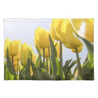 women's trendy yellow rose flower  cloth place mat