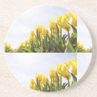 women's trendy yellow rose flower  drink coaster