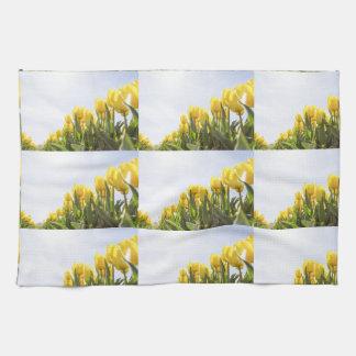 women's trendy yellow rose flower kitchen towel