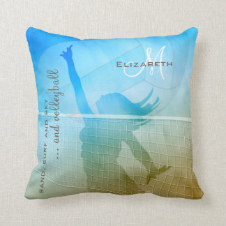 women's volleyball at the beach throw pillow