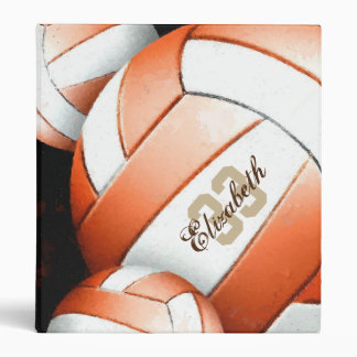 Women's Volleyball Orange White Black Vinyl Binders