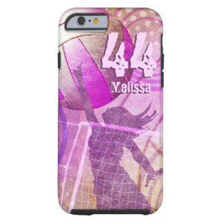 Women's Volleyball Player pink purple name number Tough iPhone 6 Case