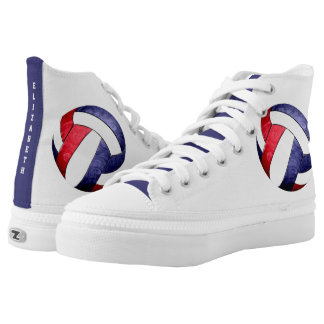 women's volleyball red white blue high tops