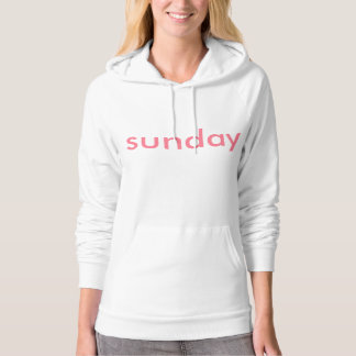women's white and pink sunday hoodie