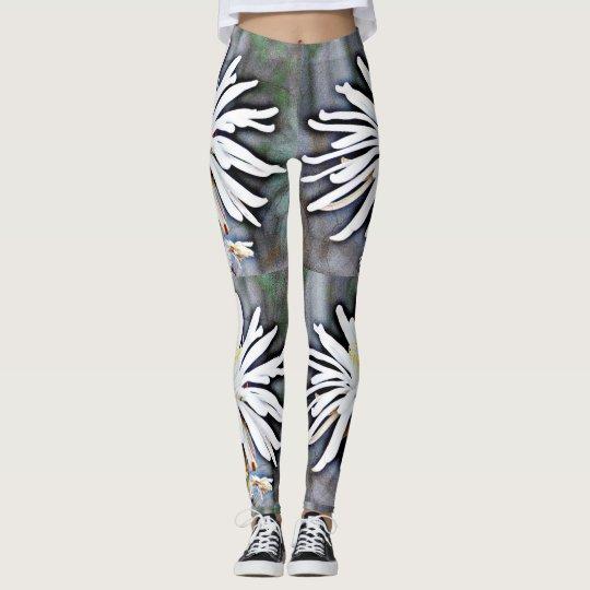 Women's White Cactus Flower Leggings. Leggings