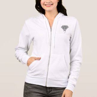 Women's White & Gray Diamond Full-Zip Hoodie