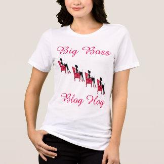 Womens White & Pink Big Boss Blog Hog T-Shirt. T-Shirt