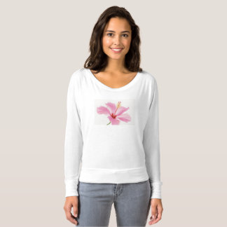 Women's white t-shirt with pink hibiscus flower