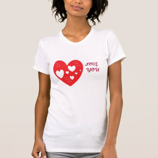 Womens White With Red Heart T-Shirt