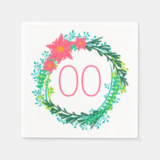 Women's Wreath 91st 92nd 95th 98th 99th Birthday Disposable Napkin