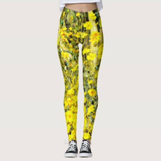 Women's Yellow Wildflower Leggings