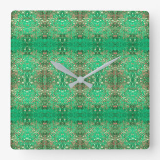 'Wonder' Green and Red Pattern Clock