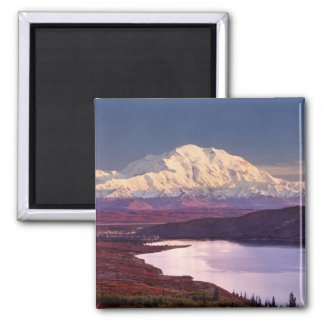 Wonder Lake and Mt. Denali at sunrise in the Square Magnet