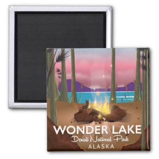 Wonder Lake, Denali national park Alaska Square Magnet