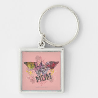 Wonder Mom Mixed Media Silver-Colored Square Keychain