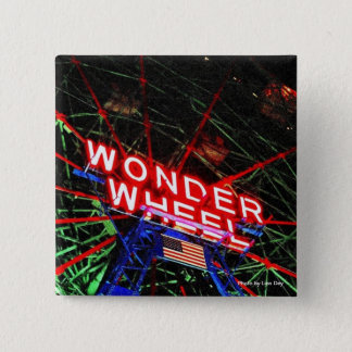 'Wonder Wheel Neon' Square Button