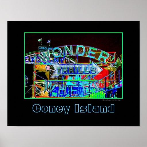 'Wonder Wheel Thrills'  Psychedelic Poster