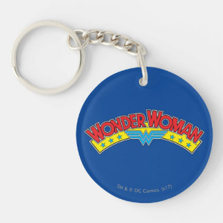 Wonder Woman 1987 Comic Book Logo Double-Sided Round Acrylic Keychain