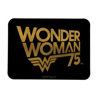 Wonder Woman 75th Anniversary Gold Logo Magnet