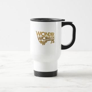 Wonder Woman 75th Anniversary Gold Logo Travel Mug