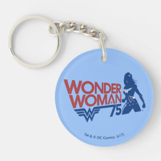 Wonder Woman 75th Anniversary Red & Blue Logo Double-Sided Round Acrylic Keychain