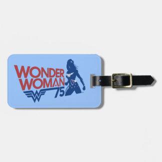 Wonder Woman 75th Anniversary Red & Blue Logo Luggage Tag