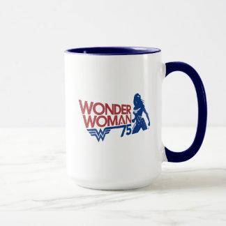 Wonder Woman 75th Anniversary Red & Blue Logo Mug